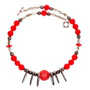 Necklace from coral, bone, nacre, copper beads Stock Photos