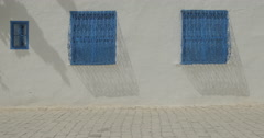 Shot Of Two Blue Windows In Sidi Bou Said Stock Footage