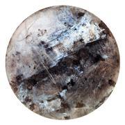 polished round cabochon of labradorite gem stone - stock photo