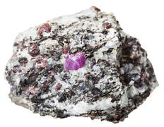 piece of mineral stone with Corundum crystals - stock photo