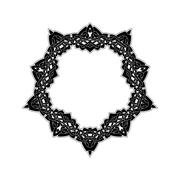 Ornate border. Gothic lace tattoo. Celtic weave with sharp corners - stock illustration