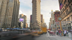 Timelapse street traffic cars vehicles Flatiron Building New York City cars NYC Stock Footage