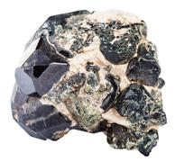 druse with diopside crystals and spinel gem - stock photo