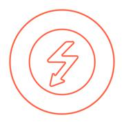 Lightning arrow downward line icon Stock Illustration
