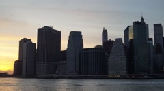 Panoramic Sunset Time-Lapse of Downtown Manhattan NYC - stock footage