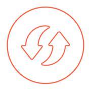 Two circular arrows line icon - stock illustration