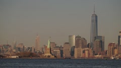Panoramic Sunset Time-Lapse of Statue of Libery and Downtown Manhattan NYC Stock Footage