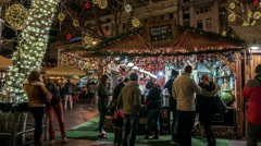 Budapest. A stall with food and drink on Christmas fair. Stock Footage