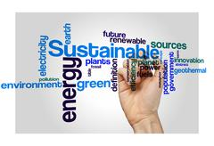 sustainable green energy concept word cloud background - stock photo