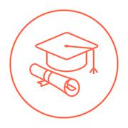 Stock Illustration of Graduation cap with paper scroll line icon