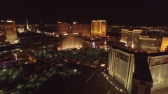 The Trump Casino, Wynn Casino, and The Mirage: Las Vegas 4K Night Aerail Footage Stock Footage