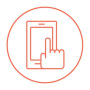 Finger pointing at smart phone line icon - stock illustration