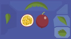 passion fruit  - Vector Graphics - Food Animation - leaves 02 - stock footage
