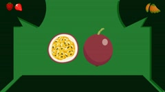 Passion fruit  - Vector Graphics - Food Animation - leaves Stock Footage