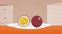 passion fruit  - Vector Graphics - Food Animation - plate - stock footage