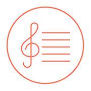 Treble clef line icon Stock Illustration