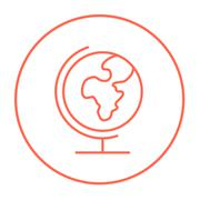 World globe on stand line icon - stock illustration