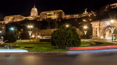 Budapest. Cars in traffic circle. Buda castle is up in the background. Stock Footage