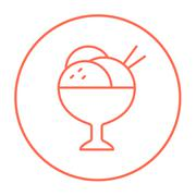 Cup of an ice cream line icon - stock illustration