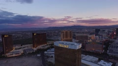 Trump Casino, Wynn, and Treasure Island: Las Vegas 4K Day Aerail Footage Stock Footage