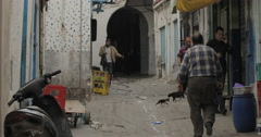Men Walking in the Old City of Tunis, Tunisia Stock Footage