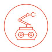 Industrial mechanical robot arm line icon Stock Illustration