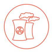 Nuclear power plant line icon Stock Illustration