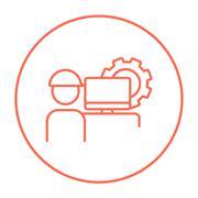 Computerized production line icon - stock illustration