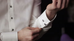 Man in a shirt with cufflinks Stock Footage