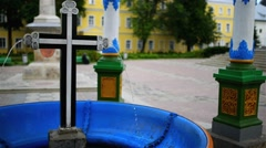 Pool for consecration of water, Trinity Lavra Stock Footage