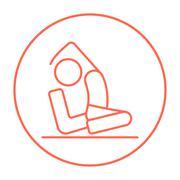 Man practicing yoga line icon Stock Illustration