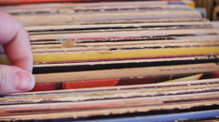Looking Through Vinyl Records, 4K Stock Footage