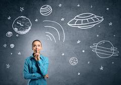 Dreaming to explore space - stock photo