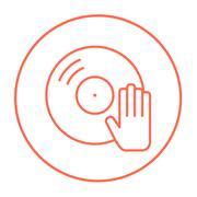 Disc with dj hand line icon Stock Illustration
