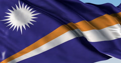 Ultra realistic looping flag: Marshall Islands Stock Footage