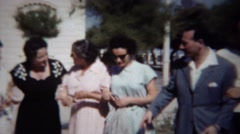 1954: Italian matriarch strolling happy family lovingly embraced. Stock Footage