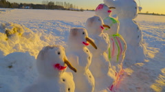 Front view of the snowmen aligned - stock footage