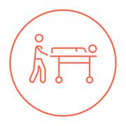 Man pushing stretchers line icon Stock Illustration