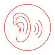 Human ear line icon - stock illustration