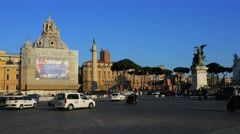 Piazza Venezia is central hub of Rome, Italy Stock Footage