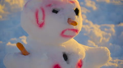 The spiky hair of the pink snowman - stock footage