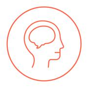 Human head with brain line icon - stock illustration