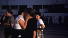 1954: Italian mother daughter kisses sad goodbye crying tears sorrow. - stock footage