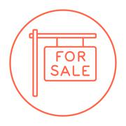 For sale placard line icon - stock illustration