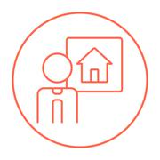 Real estate agent line icon - stock illustration