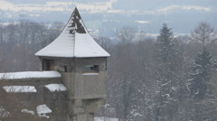 View of a tower with wooden roof at Hohensalzburg Fortress in Salzburg Stock Footage