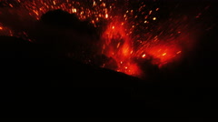 Super Powerful Volcanic Explosion In The Night Stock Footage