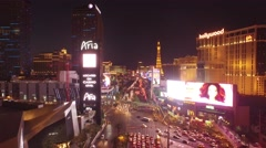 Aria, Planet Hollywood, and Paris: Las Vegas- 4K Night Aerail Footage Stock Footage