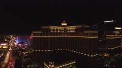 Cosmopolitan, Bellagio, and Caesar's Palace , Las Vegas 4K Night Aerail Footage - stock footage