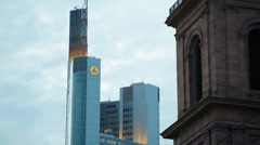 Commerzbank tower lights, evening time, Frankfurt am Main skyline, Germany Stock Footage